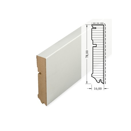 MDF Skirting white Cube 78mm