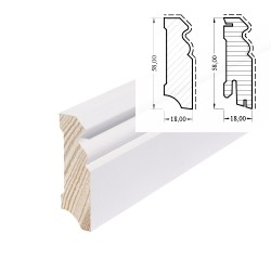 HOCO Skirting 58mm Hamburger Profil Softwood Core White