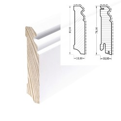 HOCO Skirting 80mm Hamburger Profil Softwood Core White