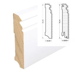 HOCO Skirting Hamburger Profil softwood core white 96mm
