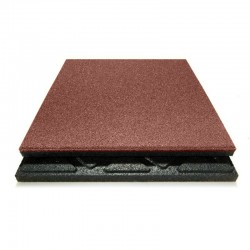 Safety rubber tiles red 50x 50cm, 48mm